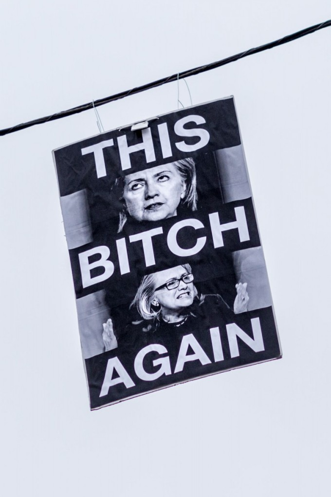 Hillary Clinton Appears above Watts Towers Bitch